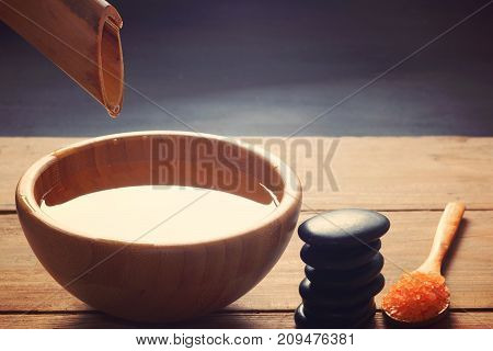 A Set For Spa Procedures, Hot Massage Stones, Bath Salts And Flavored Water, Collected From A Bamboo