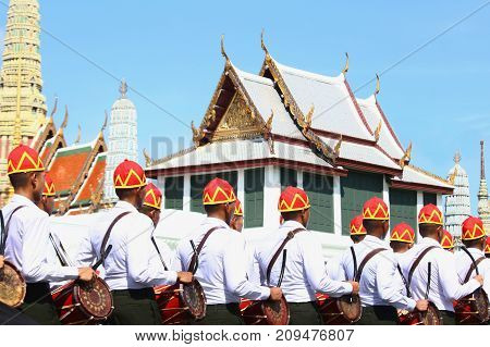 Bangkok-Thailand: October 15 2017 The Motion of Soldiers in traditional clothing to prepare for attend the funeral of King Bhumibol Adulyadej (King Rama 9) At Sanam Luang