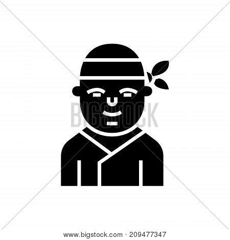 ninja - japanese icon, illustration, vector sign on isolated background