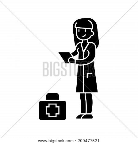 nurse icon, illustration, vector sign on isolated background
