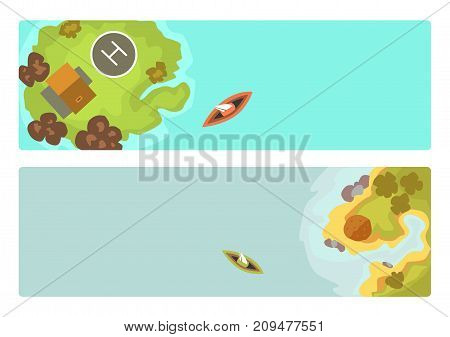 Cartoon tropical brochure exotic island in ocean. Top view exotic lagoon map caribbean aerial sprite. Vector game design for app. Holiday seascape tourism paradise coast.