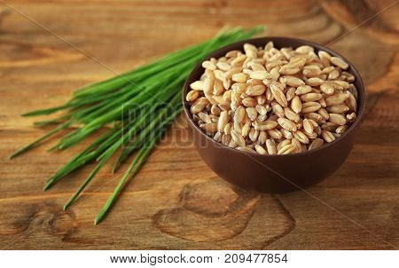 Bowl of wheat grass seeds and sprouts on wooden table