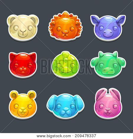 Cute jelly animals faces. Vector colorful gummy candy stickers.