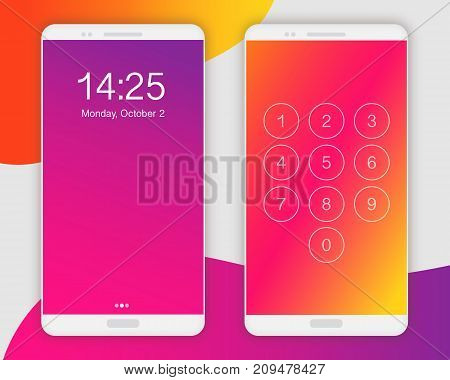 Smartphone screen ui ux template backgrounds. Screen ui vector concept. Smartphone lock screen, blurred red orange purple colors. Mobile phone screens concept. Smartphone front view template.