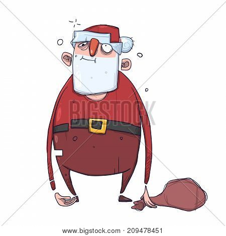 Cute cartoon Santa Claus with empty sack of gifts. Vector Illustration, isolated on white background.