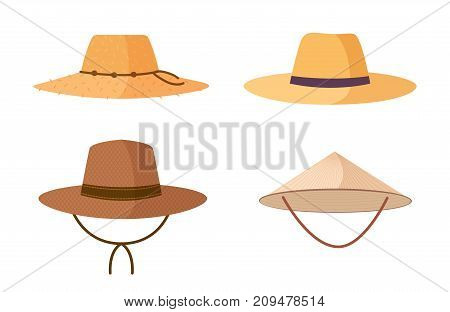 Collection of gardener, farmer or agricultural worker straw hats isolated on white background. Headdresses, head accessories of different types and styles. Colorful cartoon vector illustration