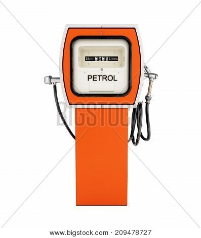 Retro Fuel Pump In Orange Isolated On White Background Without Shadow 3D