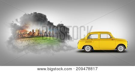 Concept Of Pollution By Exhaust Gases The Car Releases A Lot Of On Black Gradient Background Smoke 3