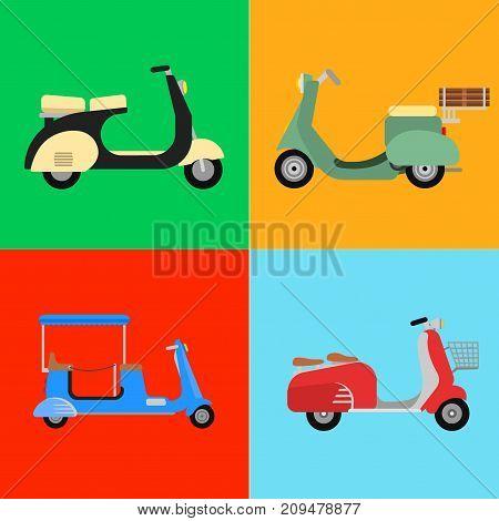 Retro vector scooter motorcycle travel design. Motorbike delivery vehicle illustration. Transportation moped cartoon motor urban lifestyle symbol.