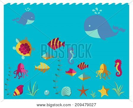 Nautical animal elements wave ocean sea blue marine vector illustration. Water nautical element abstract marine nature.