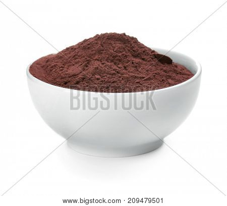 Acai powder in bowl, isolated on white