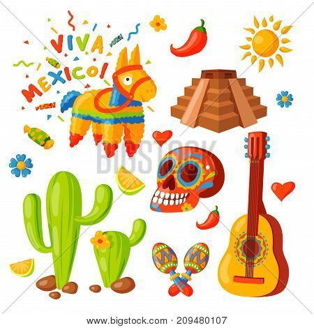 Mexico icons vector illustration. Latino party nachos, taco spesialy food. Traditional graphic travel tequila alcohol fiesta drink. Ethnicity aztec maraca sombrero.