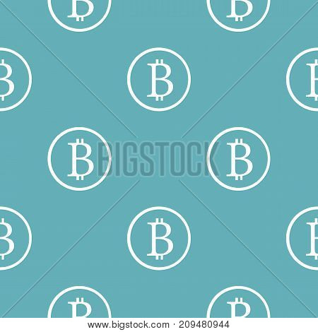 Bitcoin sign pattern seamless blue. Simple illustration of  vector pattern seamless geometric repeat background