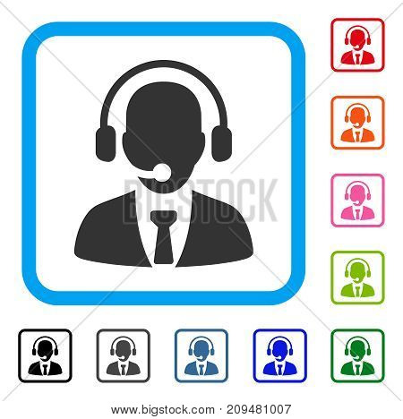 Call Center icon. Flat grey iconic symbol in a light blue rounded frame. Black, gray, green, blue, red, orange color additional versions of Call Center vector. Designed for web and app UI.