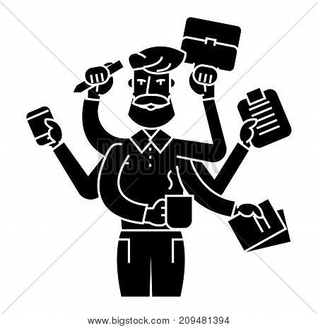 multitasking businessman icon, illustration, vector sign on isolated background