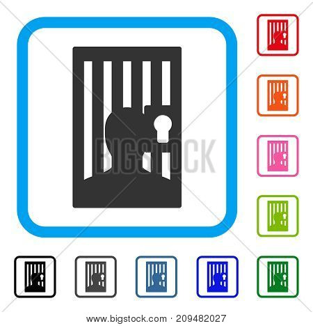Prison Locked Door icon. Flat gray pictogram symbol in a light blue rounded rectangle. Black, gray, green, blue, red, orange color variants of Prison Locked Door vector.