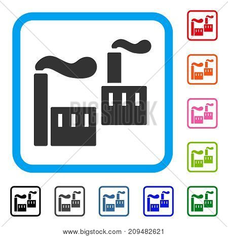 Smoking Industry icon. Flat grey iconic symbol inside a light blue rounded square. Black, gray, green, blue, red, orange color additional versions of Smoking Industry vector.