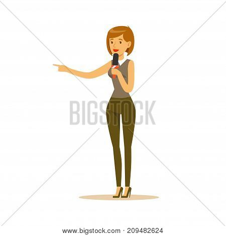 Woman reporter with microphone stands with hand up and tells news. Cartoon female journalist character concept. TV people at work. Vector illustration in flat style isolated on white background.