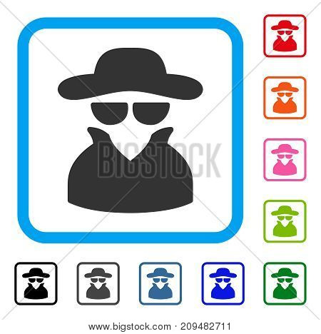 Spy icon. Flat grey pictogram symbol inside a light blue rounded rectangle. Black, gray, green, blue, red, orange color additional versions of Spy vector. Designed for web and software interfaces.