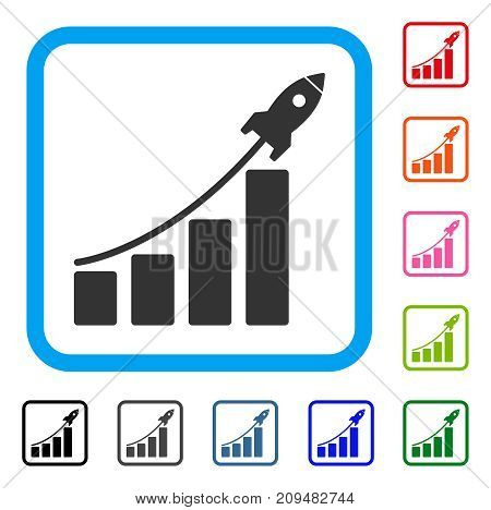Startup Sales Chart icon. Flat grey iconic symbol inside a light blue rounded square. Black, gray, green, blue, red, orange color variants of Startup Sales Chart vector.