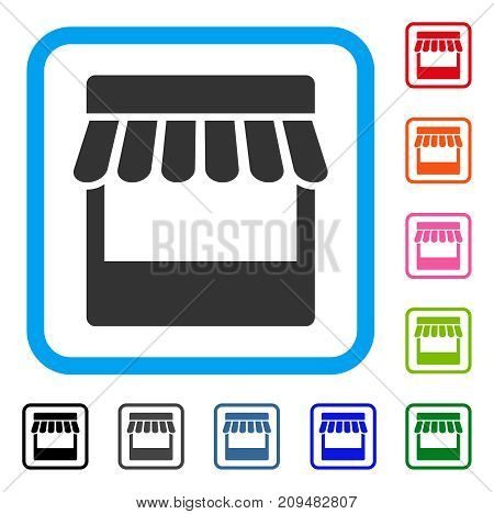 Store icon. Flat gray pictogram symbol in a light blue rounded rectangle. Black, gray, green, blue, red, orange color versions of Store vector. Designed for web and software interfaces.