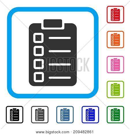 Test Tasks icon. Flat gray pictogram symbol in a light blue rounded squared frame. Black, gray, green, blue, red, orange color additional versions of Test Tasks vector.