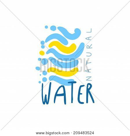 Hand drawn signs of pure water for logo or badge with text. Abstract blue and yellow waves. Kids drawing style, ecology theme. Vector natural aqua label for mineral water isolated on white.