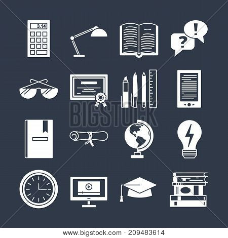 Education icons vector set isolated. Lerning teaching collection. Online or offline education sign. School or university simbols. Computer books diploma certificate calculator globe. Black and white