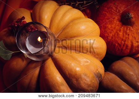 autumn holiday, a large pumpkin, candles, dry grass, Halloween, a mesmerizing picture