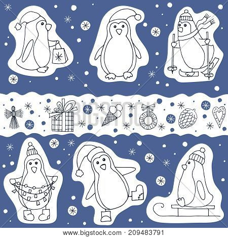 Vector set of different penguin and christmas presents icons