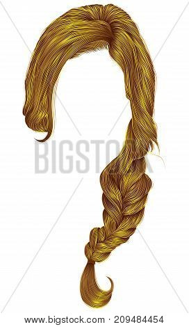 trendy women hairs bright yellow colour . plait .  fashion beauty style .