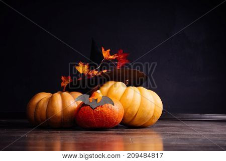 Halloween greeting card background. Halloween illustration with Halloween pumpkin, bat.Halloween vector illustration