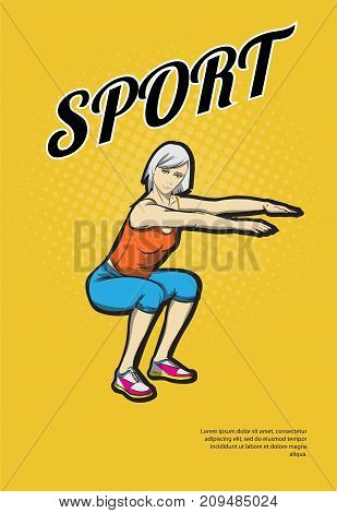A Young Athlete Performs Squats. Pop Art Retro Vector Illustration. Sport And A Healthy Lifestyle