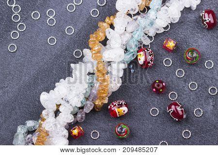 Christmas Santa Glass Beads