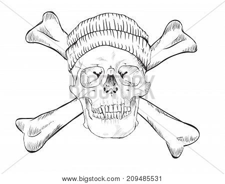 Skull in hat and dice on white background