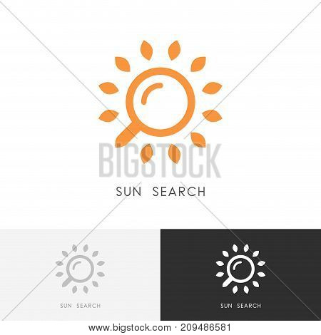 Sun search logo - sunshine and sunlight with loupe or magnifier symbol. Travel agency, warm sunny weather and hot summer vector icon.