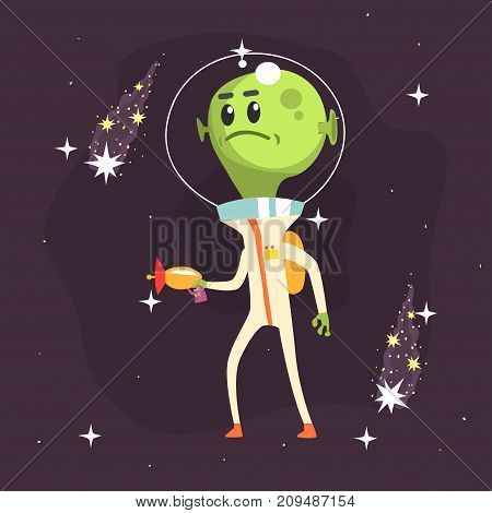 Angry alien posing with weapon in his hand. Little green martian in white space suit. UFO theme. Funny extraterrestrial cartoon sci-fi character concept. Vector illustration in flat style.