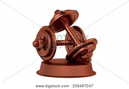 3D illustration of Dumbbell Bronze Trophy with a white background