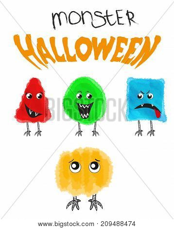 Set Of Cute Halloween Monsters. Vector Illustration.