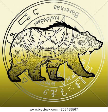 Grizzly Bear. Vector Illustration. A Totemic Animal With Abstract Occult Ornaments. Magical Folk Tat