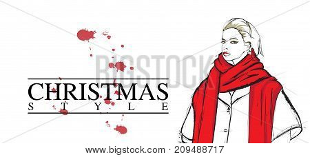 Merry Christmas Vector Card. Xmas Illustration With Girl. Beautiful Festive Bright Decoration For Ho