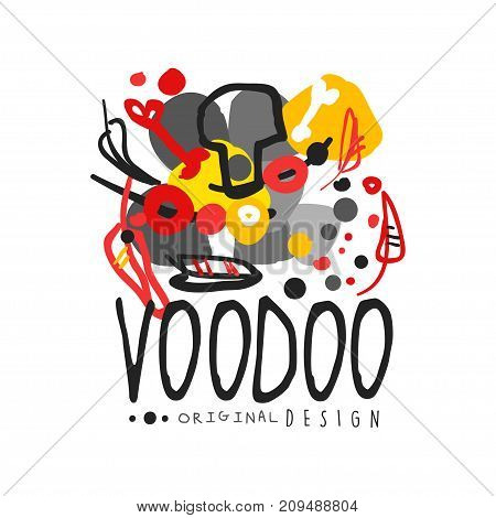 Voodoo African and American magic logo or label design with abstract drawing. Spiritual, magical, cultural symbols. Traditional religion. Hand drawn mystical vector illustration isolated on white.