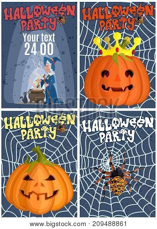 a selection of interesting posters for a party for a celebration of Halloween advertising