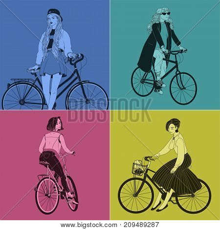 Collection of beautiful women dressed in clothes of different styles riding bicycles. Set of female characters on bikes drawn with contour lines on bright colored background. Vector illustration