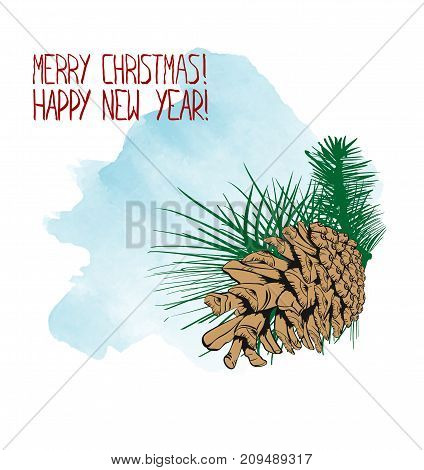 Christmas Greeting Card With A Green Spruce Branch With Two Brown Cones.