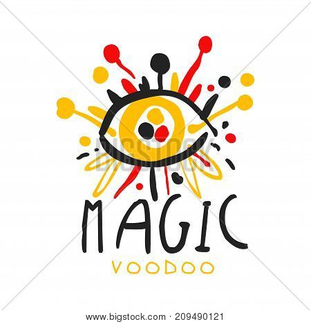 Voodoo African and American magic logo or label design, abstract eye with needles. Spiritual, magical, cultural symbols. Traditional religion. Hand drawn mystical vector illustration isolated on white