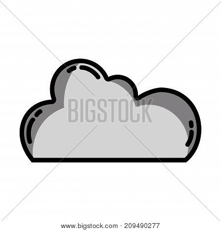 grayscale cloud data network server connection vector illustration