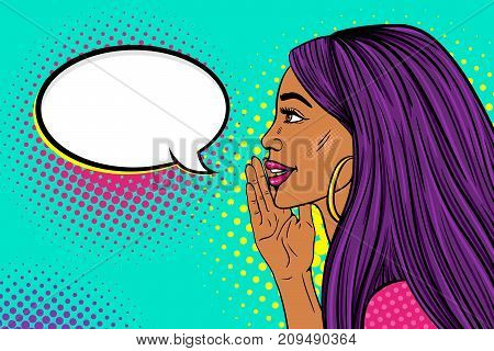 Wow female face. Profile of sexy surprised young woman with long purple hair and dark skin with a smile telling a secret and empty speech bubble. Vector background in pop art retro comic style.