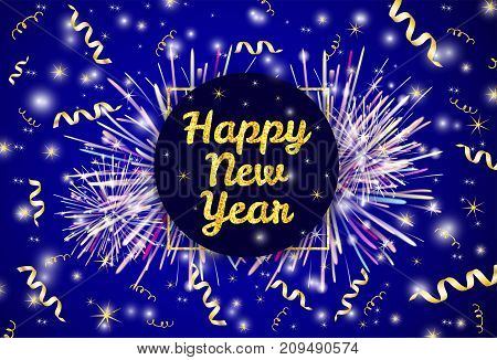 Gold text Happy New Year and ribbons on the shiny background with fireworks. Vector illustration