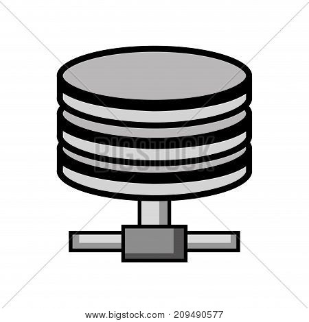 grayscale hard disk technology data storage vector illustration